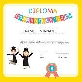 Certificate of kids diploma, preschool,kindergarten template bac