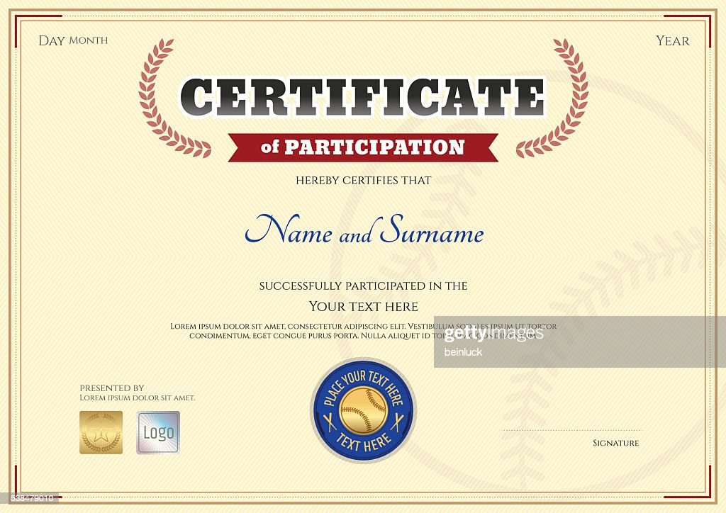 Certificate of participation template in baseball sport theme