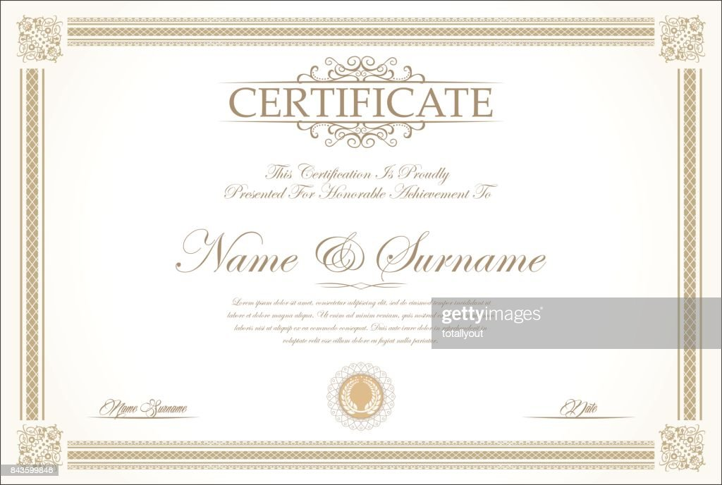 Certificate or diploma retro vintage background vector
