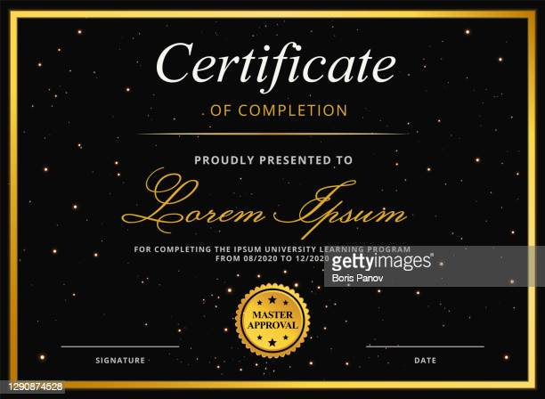 certificate or diploma template for university graduation or online e-learning course completion award with gold border and elegant star background - gala stock illustrations
