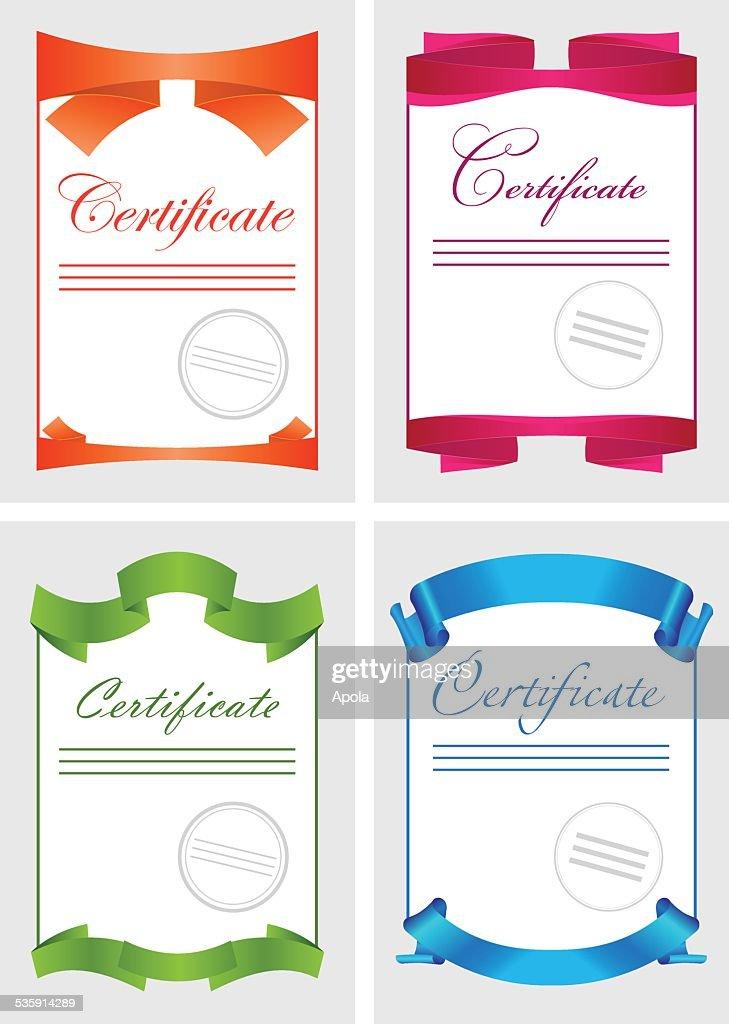 Certificado conjunto de iconos de color, Plantilla del documento, ilustración vectorial : Arte vectorial