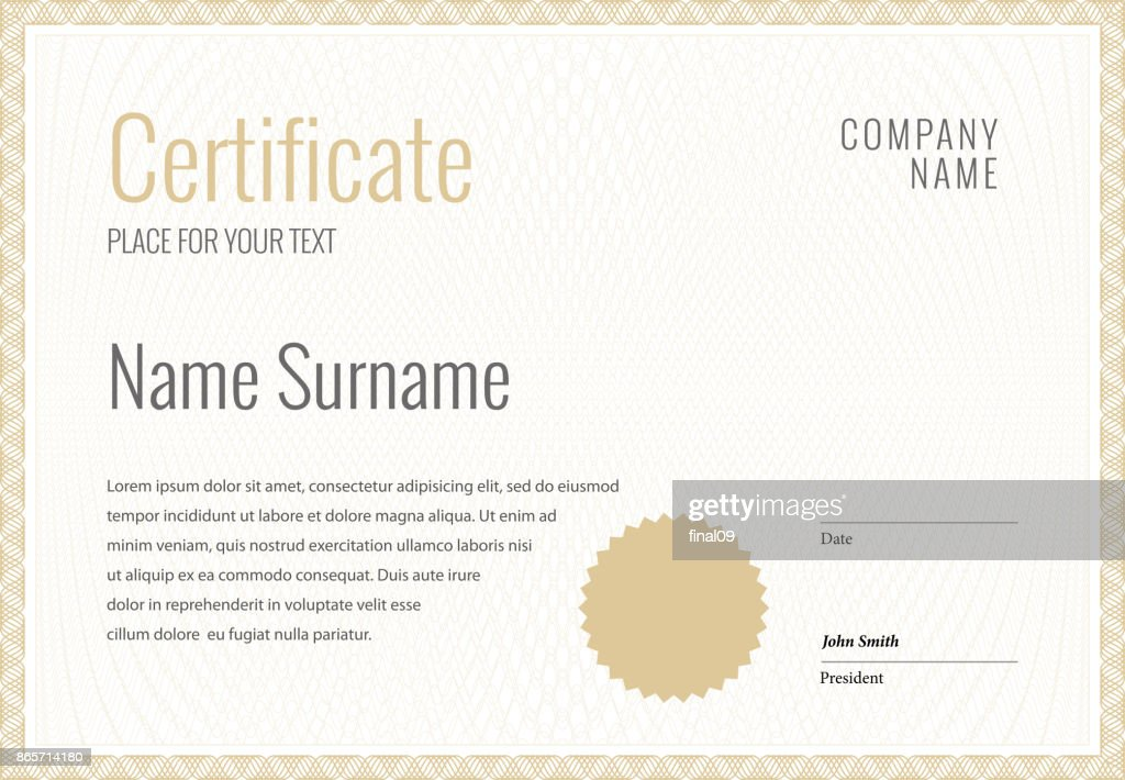 Certificate Template Diploma Currency Border Vector Art Getty Images