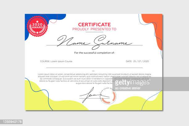 certificate template. diploma of modern design or gift certificate. - admiration stock illustrations