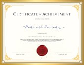 Certificate template for achievement with gold border