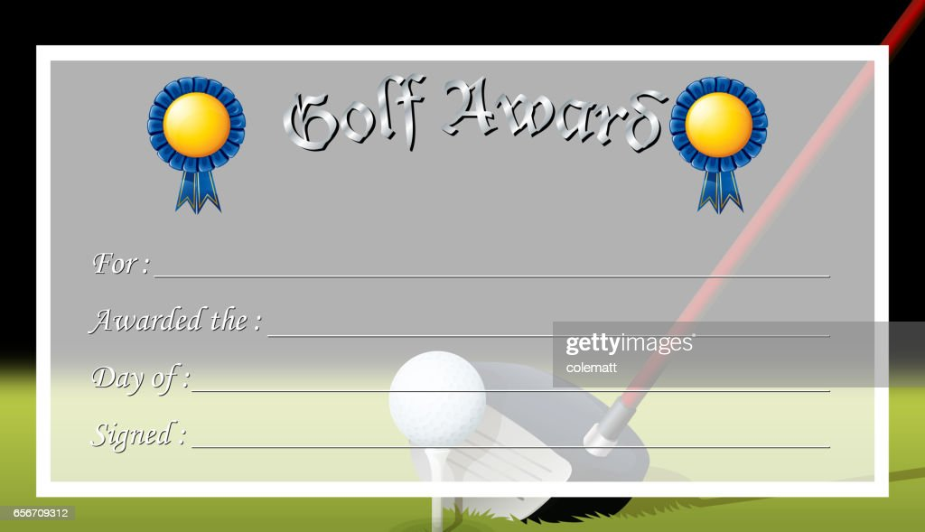 Certificate Template For Golf Award Vector Art Getty Images