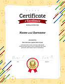 Certificate template in football sport theme with ball border frame, Diploma design