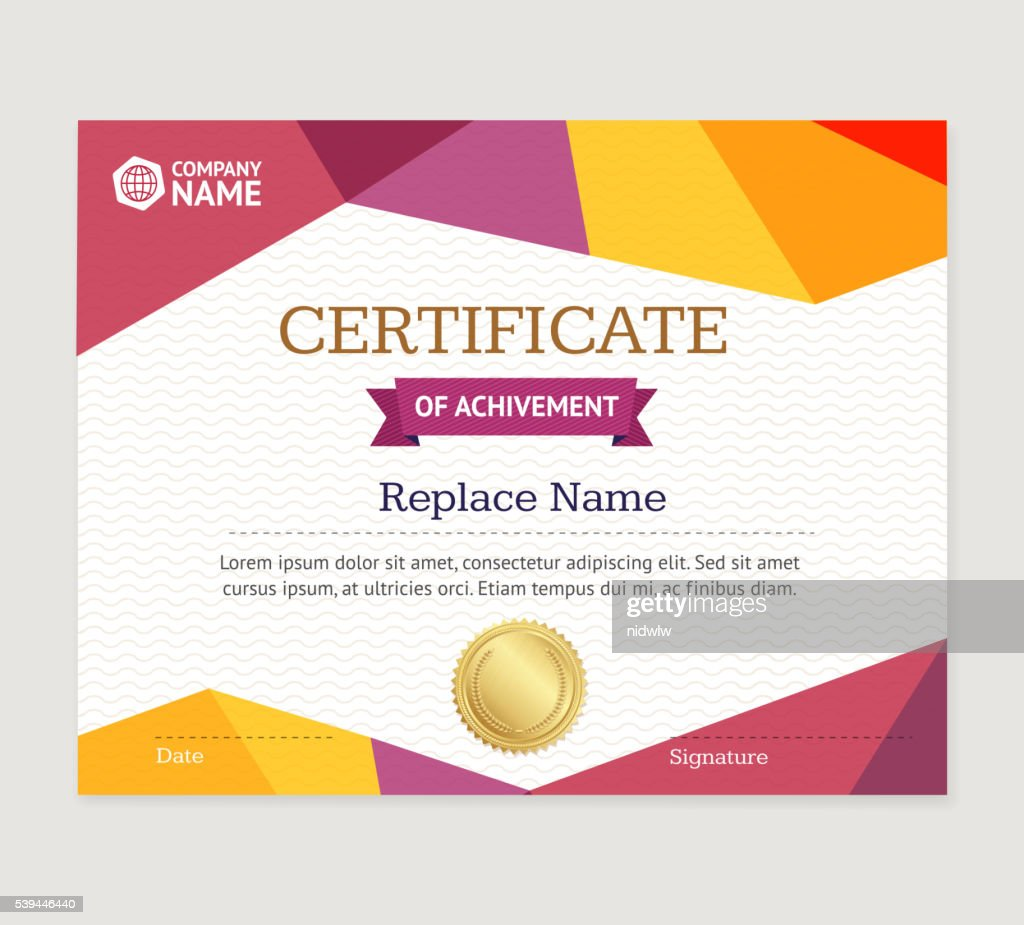 Certificate Template Vector Vector Art Getty Images