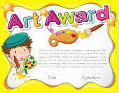 Certificate template with artist and watercolor