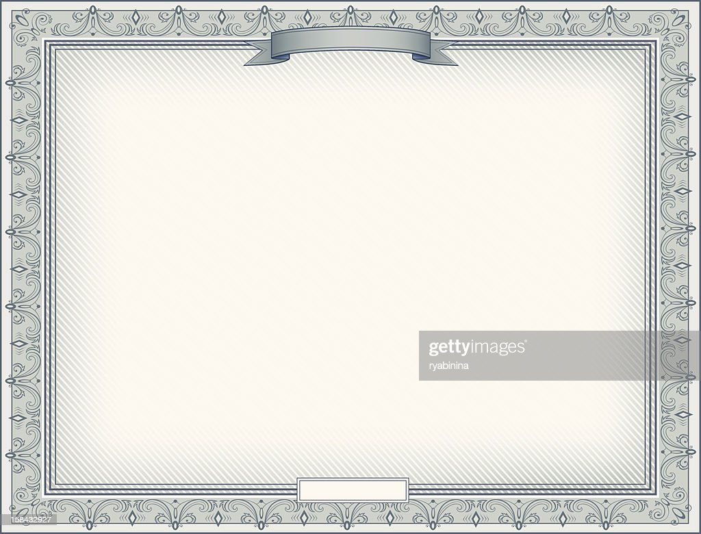 Certificate template with elegant silver decorated border