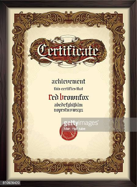 certificate template with gothic font - certificate stock illustrations