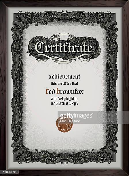 certificate template with gothic font - gothic style stock illustrations, clip art, cartoons, & icons