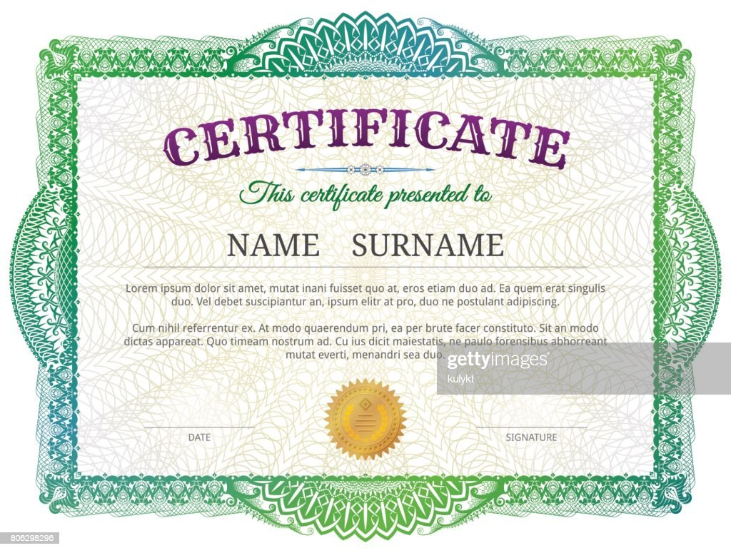 Certificate template with guilloche elements