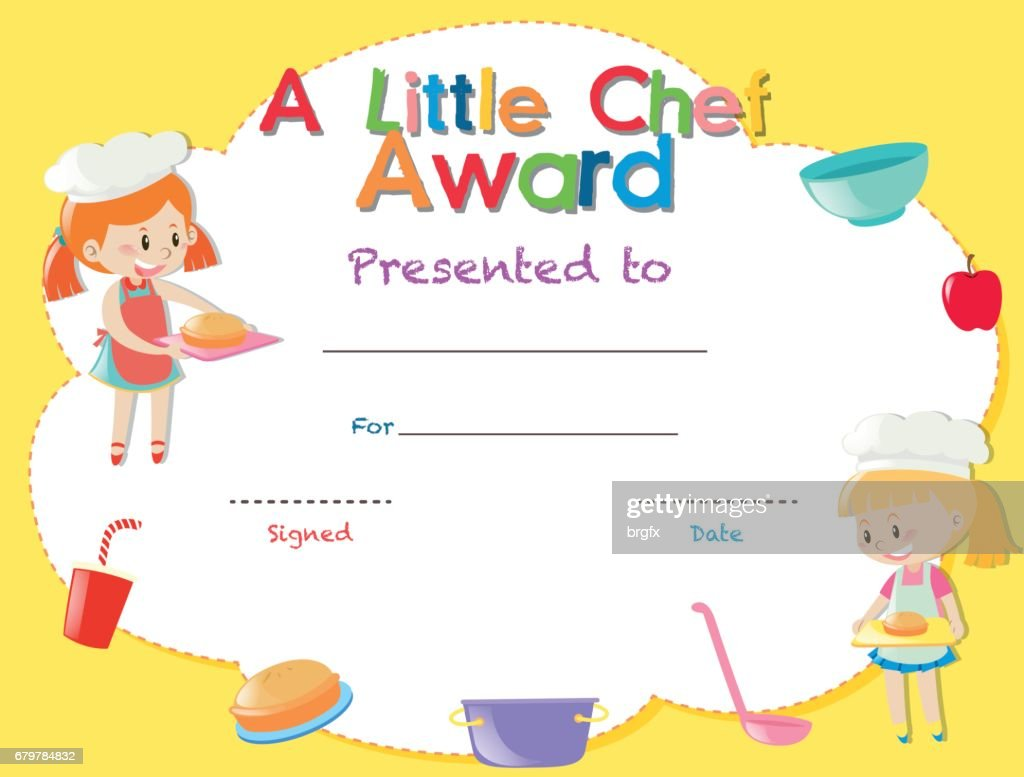 Certificate Template With Kids Cooking Vector Art Getty Images