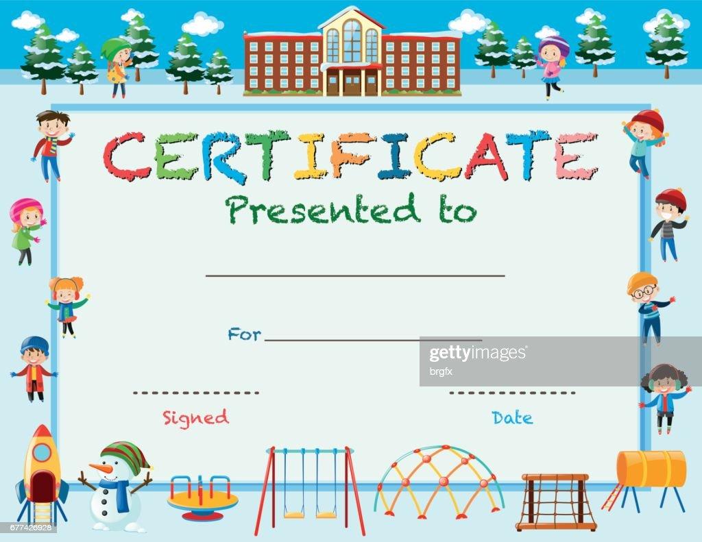 Zertifikatvorlage Mit Kindern Im Winter In Der Schule Vektorgrafik ...