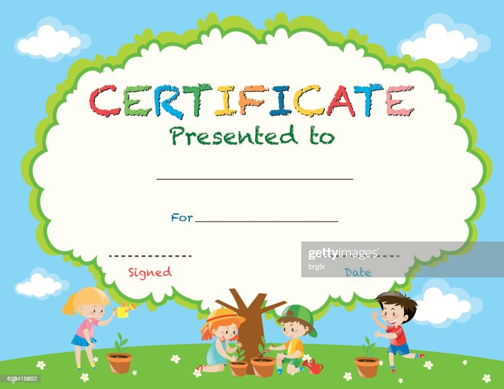 Certificate Template With Kids Planting Trees Vector Art Getty Images