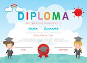 Certificates kindergarten and elementary, Kids Diploma, certificate, Diploma, Diploma template