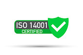 ISO 14001 Certified badge, icon. Certification stamp. Flat design vector.
