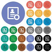 Certified contact round flat multi colored icons