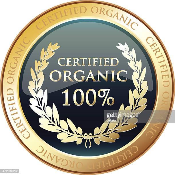 certified organic gold award - medallion stock illustrations, clip art, cartoons, & icons
