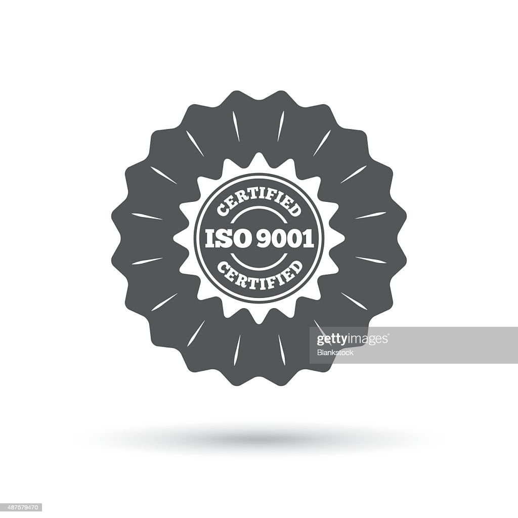 ISO 9001 certified sign. Certification stamp