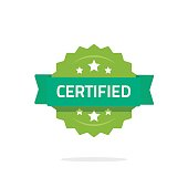 certified stamp or seal vector sign isolated on white, flat cartoon rosette quality badge with stars and green ribbon, idea of certification sticker
