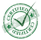 Certified stamp with tick mark at its center