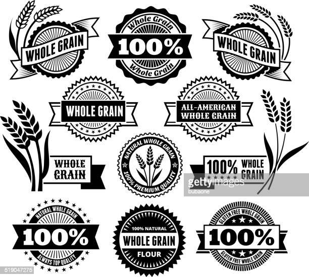 certified whole grain signs & banners - wholegrain stock illustrations