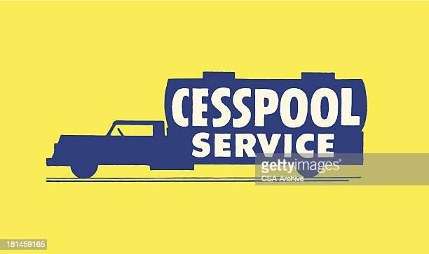 ilustrações de stock, clip art, desenhos animados e ícones de cesspool serviço reboque - gari