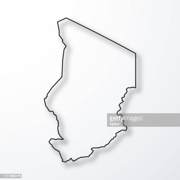 Carte du Tchad - noir contour avec ombre sur fond blanc