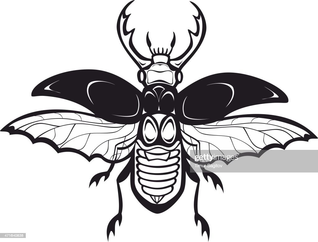 Chafer beetle silhouette, isolated on white. Vector tattoo illustration.