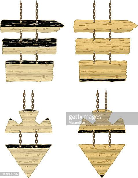 chain hanging wood direction sign - memorial plaque stock illustrations, clip art, cartoons, & icons