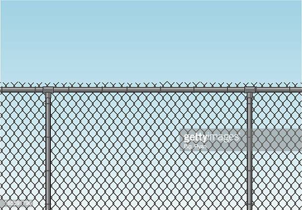 chain link fence - wire mesh fence stock illustrations