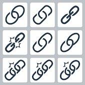 Chain links vector icon set
