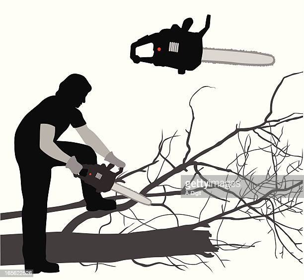 chain sawing vector silhouette - power tool stock illustrations, clip art, cartoons, & icons