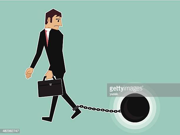 ilustraciones, imágenes clip art, dibujos animados e iconos de stock de cadenas de empresario - bola de hierro y cadena