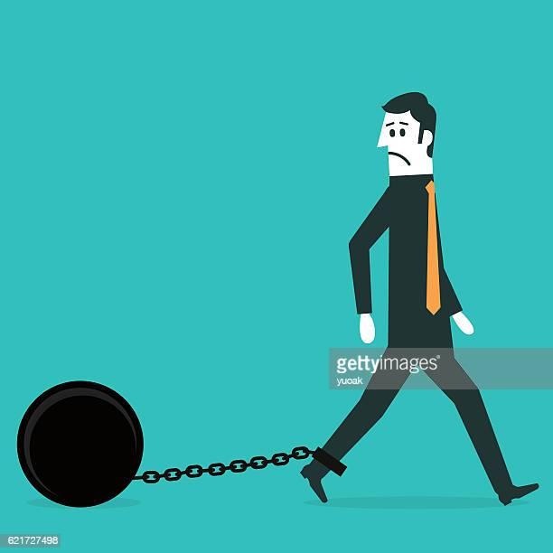 Chained Geschäftsmann