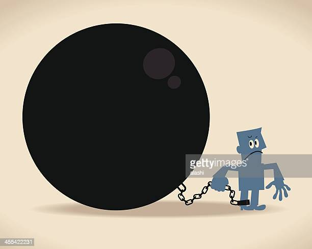ilustraciones, imágenes clip art, dibujos animados e iconos de stock de de cadenas - bola de hierro y cadena