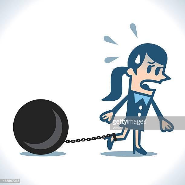 ilustraciones, imágenes clip art, dibujos animados e iconos de stock de cadenas de mujer - bola de hierro y cadena