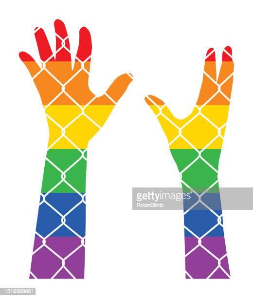 chainlink fence rainbow striped raised arms - anti quarantine protest stock illustrations