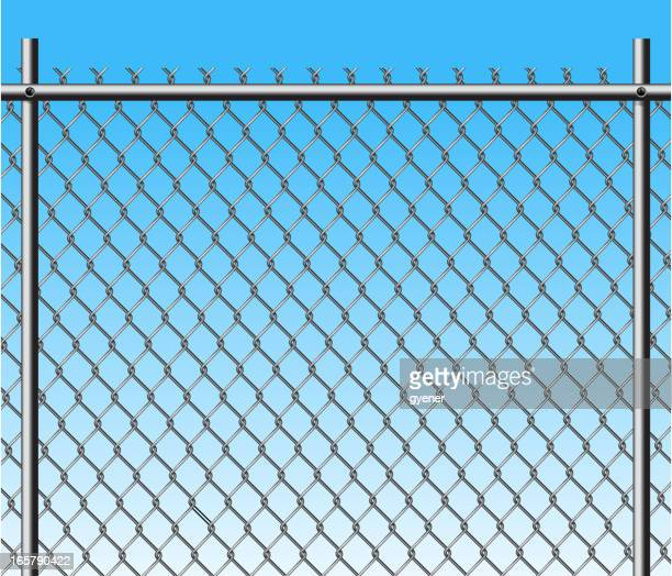 chainlink fence - wire mesh fence stock illustrations