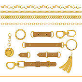 Chains and belts vector design elements isolated on white background.
