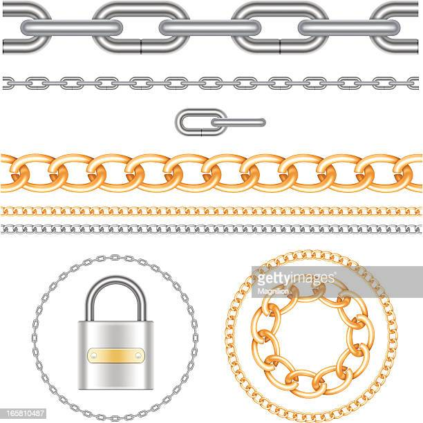 chains and padlock - necklace stock illustrations