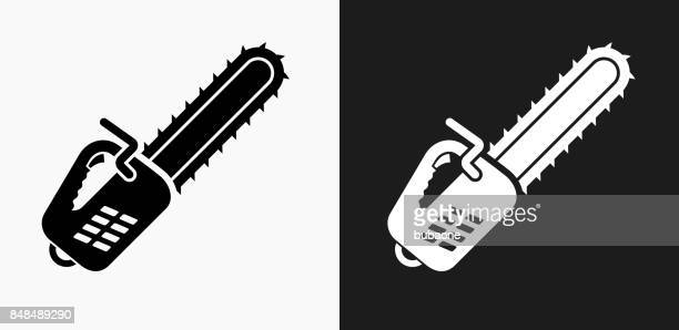 chainsaw icon on black and white vector backgrounds - power tool stock illustrations, clip art, cartoons, & icons