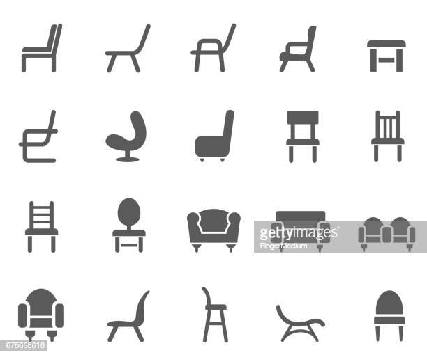 chair icon set - chaise stock illustrations, clip art, cartoons, & icons