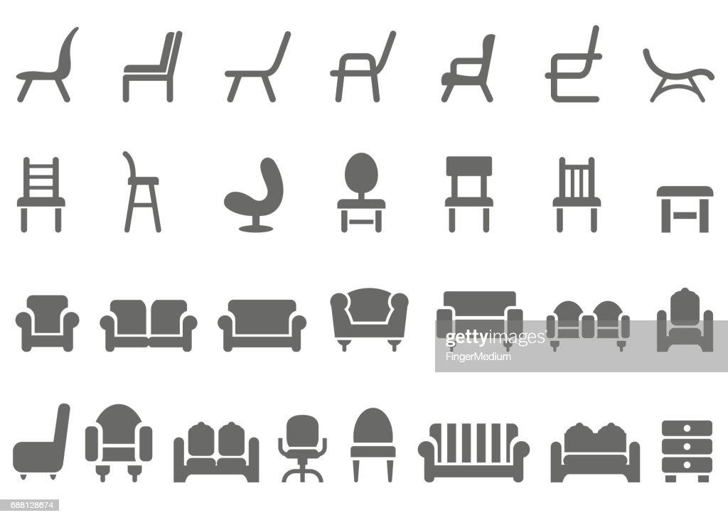 Chair icon set : stock illustration
