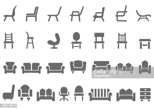 chair icon set - chair stock illustrations