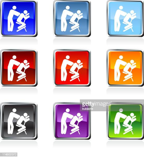 chair massage icon in nine colors