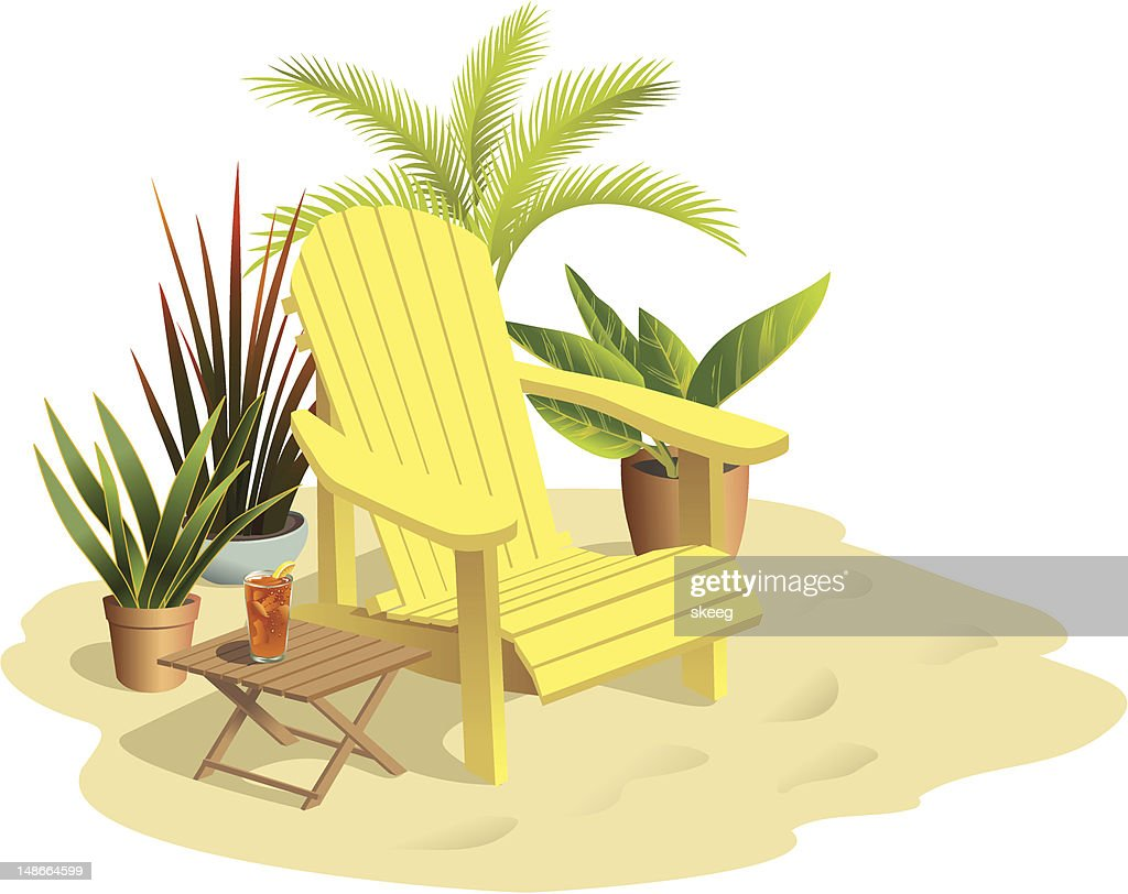 Chair on Sand in Sunlight with Plants