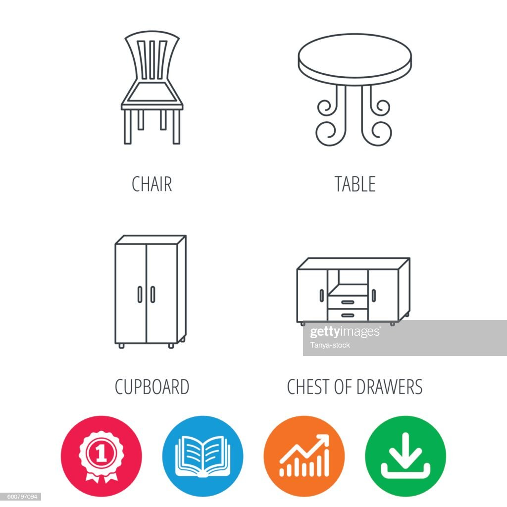 Chair, table and cupboard icons.