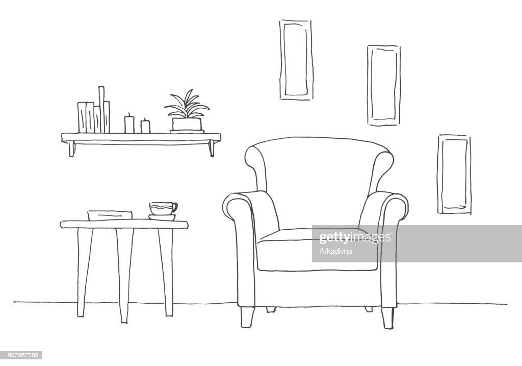 Stuhl Tisch Mit Becher Regal Mit Buchern Und Pflanzen Hand